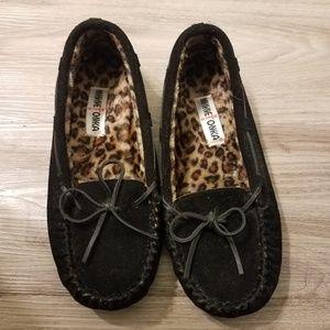 Minnetonka mocs with faux leopard fur lining